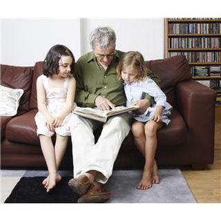 X. grandad reading to kids