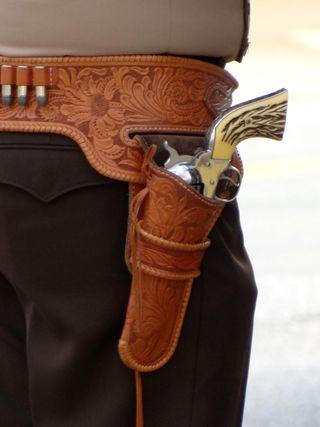 Gun holstered